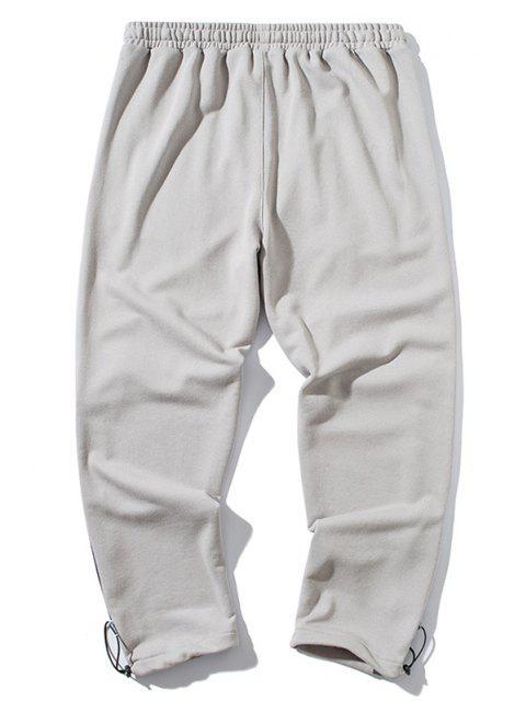 Pantalones con Parche de Bloqueo de Color y Estampado de Letras - Gris L Mobile