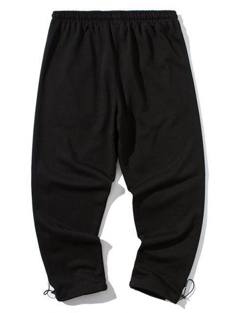 new Colorblock Patch Letter Print Pants - BLACK 3XL Mobile