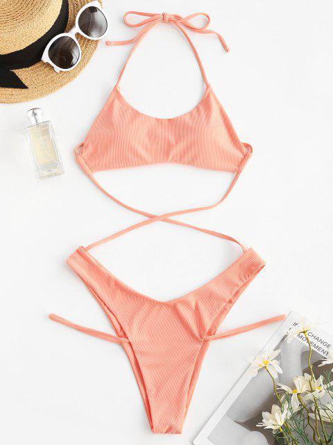 ZAFUL Halter Ribbed Underboob Strappy Monokini Swimsuit - برتقالي فاتح L Mobile