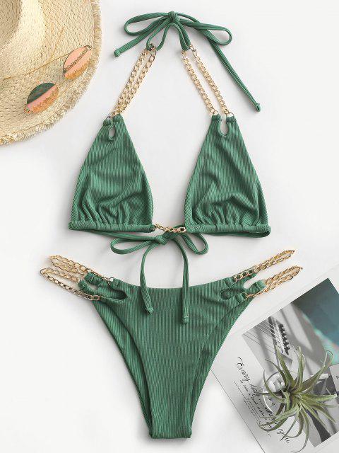 ZAFUL Maillot de Bain Bikini Côtelé Noué avec Chaîne - Vert profond L Mobile