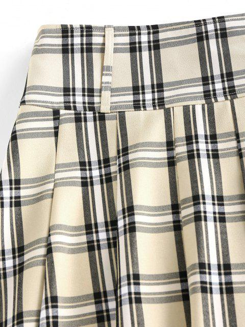 hot ZAFUL Pleated Plaid Mini Skirt - LIGHT COFFEE M Mobile