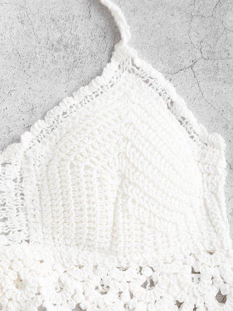 fancy Halter Tie Padded Crochet Beach Top - WHITE ONE SIZE Mobile