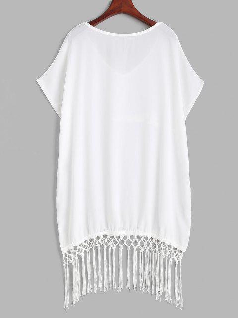 fashion Fringed Oversized Tunic Beach Cover-up Dress - WHITE ONE SIZE Mobile