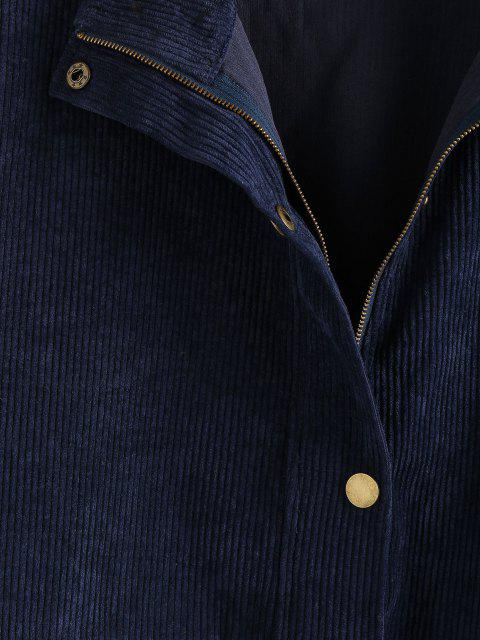 lady ZAFUL Drop Shoulder Corduroy Pocket Colorblock Jacket - MULTI-A M Mobile