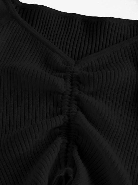ZAFUL Gerippter Raglanärmel Pullover - Schwarz XL Mobile