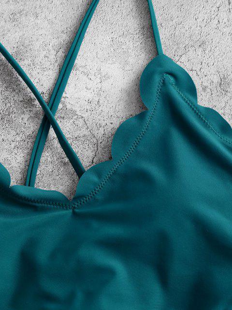 ZAFUL Maillot de Bain Tankini Festonné Fleur à Lacets - Bleu Verdâtre 2XL Mobile