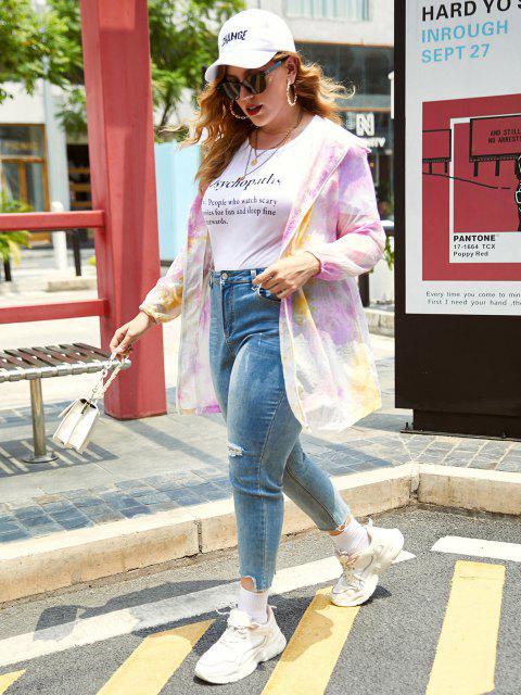Plus Size Neon Tie Dye Hooded Zip Tunic Coat - رائع L Mobile