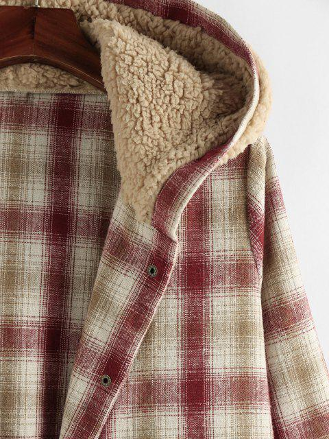 chic Plus Size Plaid Hooded Teddy Snap Button Coat - CHERRY RED L Mobile