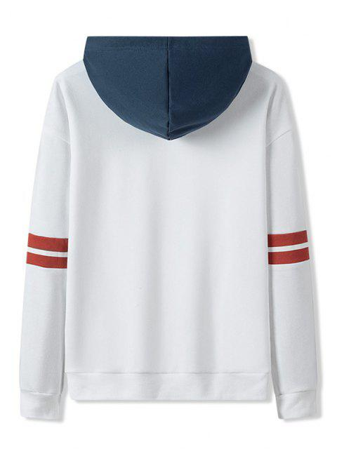 buy Letter Print Colorblock Patch Hoodie - WHITE XS Mobile