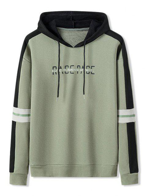 online Letter Print Colorblock Patch Hoodie - ARMY GREEN S Mobile