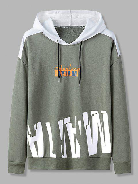 fashion Letter Print Colorblock Patch Panel Hoodie - ARMY GREEN XS Mobile
