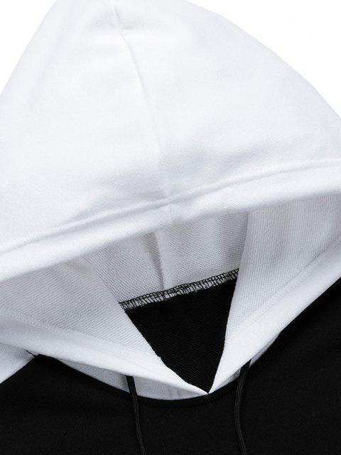 Buchstabe Druck Farbblock Patch Panel Hoodie - Schwarz L Mobile