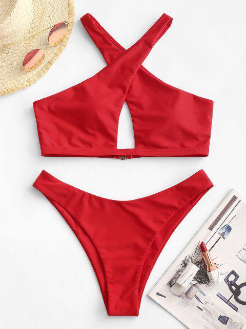 ZAFUL Bikini de Pierna Alta Recortado Cruzado - Rojo M Mobile