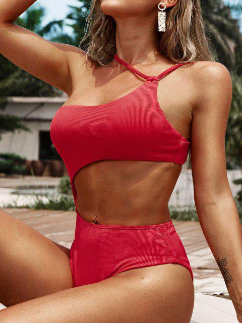 trendy ZAFUL Ribbed Cutout Asymmetrical One-piece Swimsuit - RED S Mobile