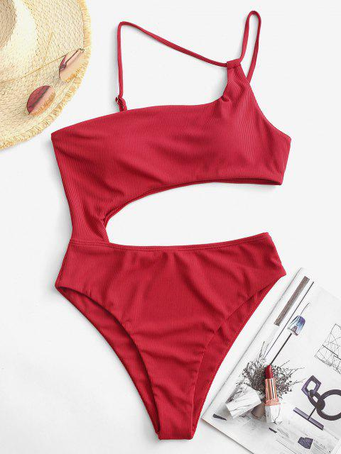 ZAFUL Ribbed Cutout Asymmetrical One-piece Swimsuit - أحمر S Mobile