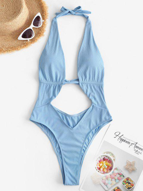 ZAFUL Halter Ribbed Cut Out One-piece Swimsuit - أزرق فاتح M Mobile
