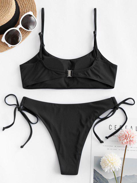 lady ZAFUL Ribbed Tie Side Cami Bikini Swimwear - BLACK S Mobile