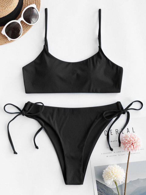 online ZAFUL Ribbed Tie Side Cami Bikini Swimwear - BLACK L Mobile