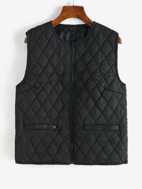 Zip Up Zippered Pockets Padded Vest - أسود S Mobile