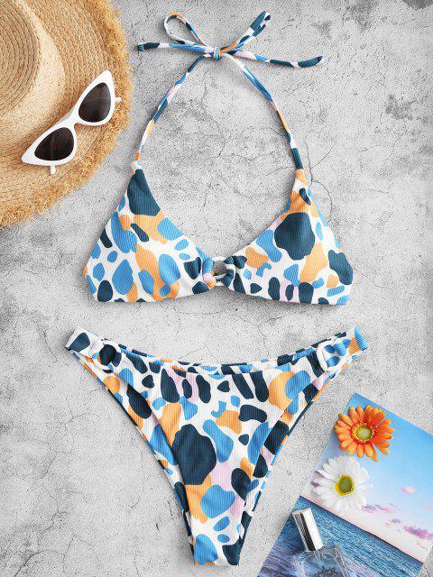 online ZAFUL Ribbed Halter O Ring Printed Bikini Swimwear - MULTI S Mobile