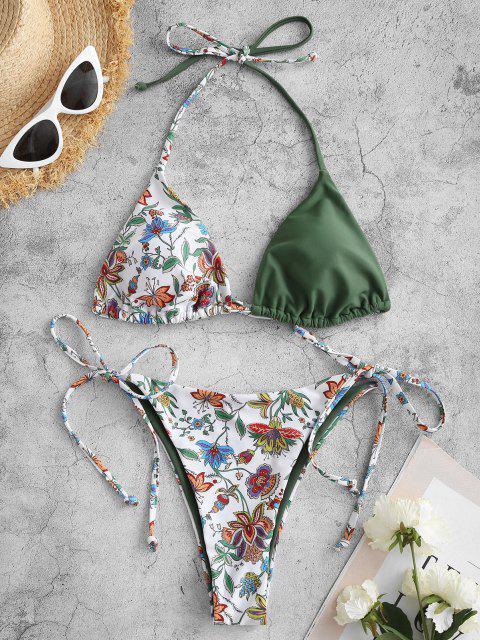 Costume da Bagno Bikini Annodato Stampato a Pianta di ZAFUL - Verde chiaro S Mobile