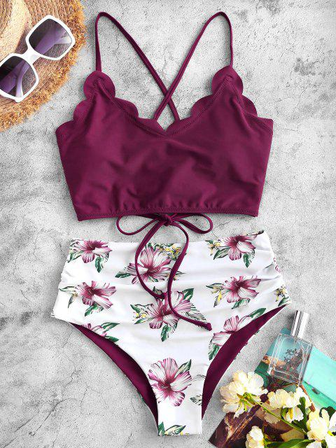outfits ZAFUL Flower Lace Up Scalloped Tummy Control Tankini Swimwear - DEEP RED S Mobile