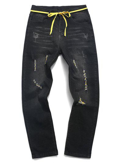 Ripped Zip Fly Scratch Long Jeans - Black 36