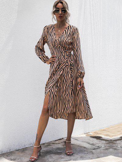 Zebra Print Plunge Wrap Dress - Coffee L