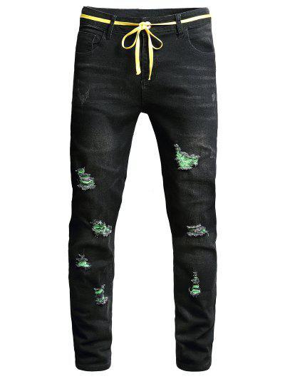 Jeans Rasgados Rectos Largos Cremallera - Negro 36