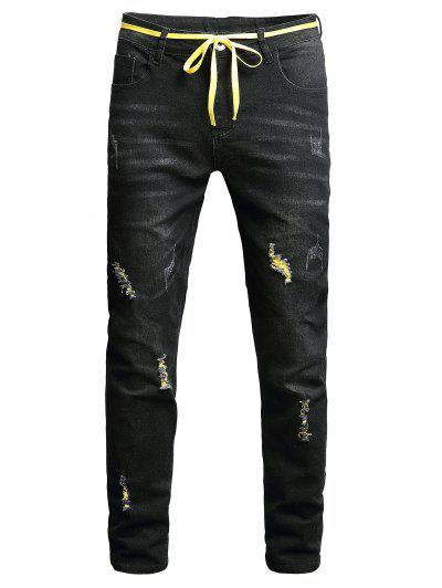 Distressed Long Zip Fly Ripped Jeans - Black 36