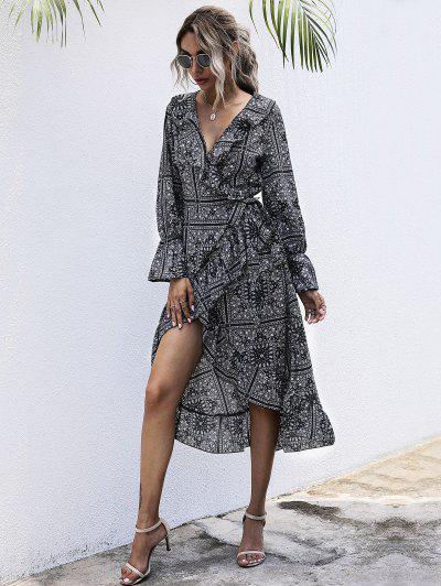Smucitură Tribal Print Midi Wrap Dress - Negru S