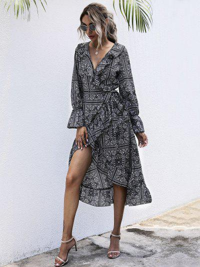 Vestido Envuelto A Media Pierna Estampado Tribal - Negro L