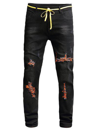 Distressed Scratch Ripped Denim Pants - Black 32