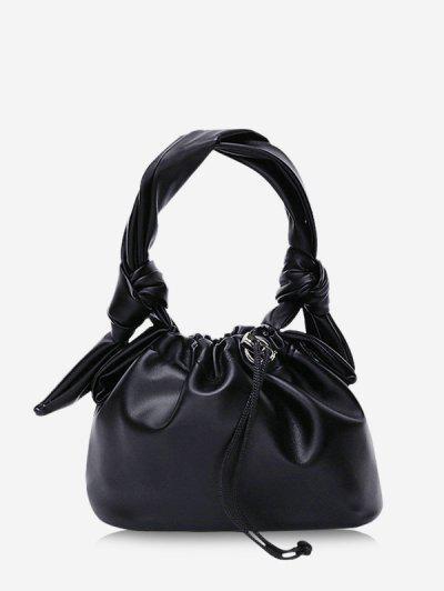 Knot Drawstring Crossbody Chain Handbag - Black