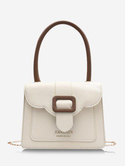 Colorblock Chain Square Crossbody Bag - Milk White