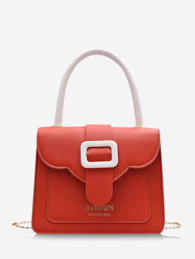 Colorblock Chain Square Crossbody Bag - Living Coral