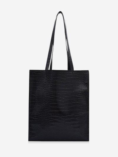 Retro Textured Rectangle Tote Bag - Black