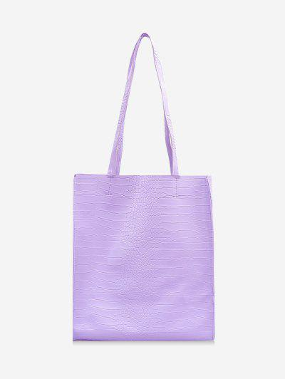 Retro Textured Rectangle Tote Bag - Mauve