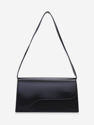 Rectangle Solid Asymmetric Shoulder Bag - Black