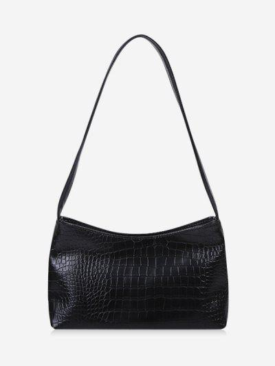 Textured Solid French Style Shoulder Bag - Black