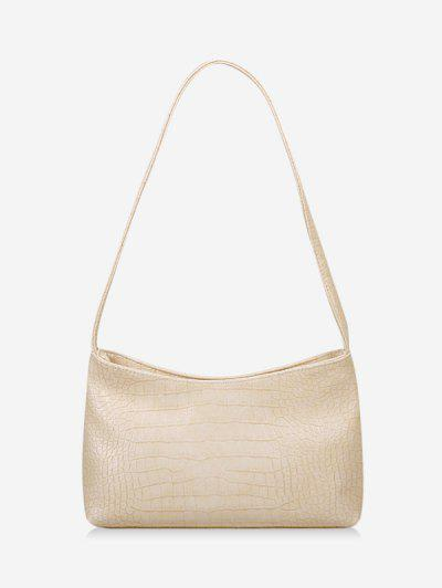 Textured Solid French Style Shoulder Bag - Warm White