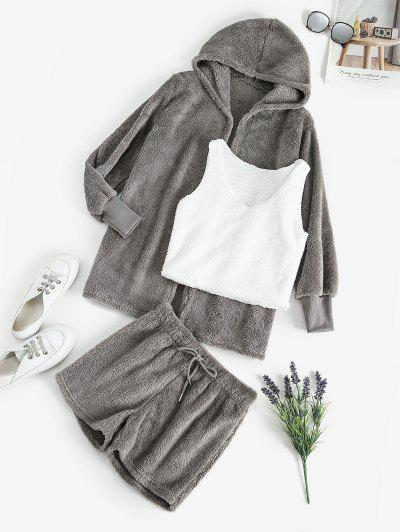 Plush Faux Fur Shorts Set With Hooded Coat - Gray S