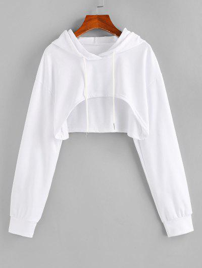 ZAFUL Open Bust Drop Shoulder High Low Hoodie - White S