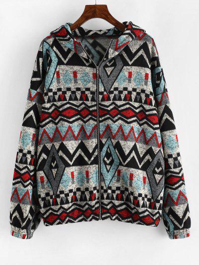 ZAFUL Hooded Geometric Fleece Lined Knit Zip Jacket - Blue Gray S