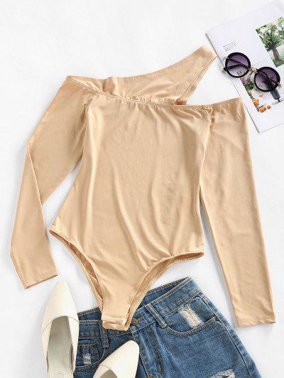 ZAFUL Cutout One Shoulder Snap Crotch Bodysuit - Burlywood M