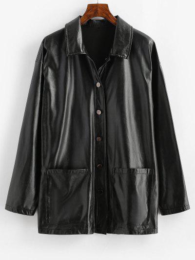 ZAFUL Faux Leather Pocket Single Breasted Jacket - Black Xl