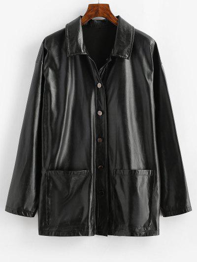 ZAFUL Faux Leather Pocket Single Breasted Jacket - Black M