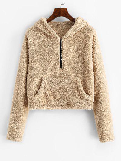 ZAFUL Plush Faux Fur Half Zip Pocket Hoodie - Camel Brown M