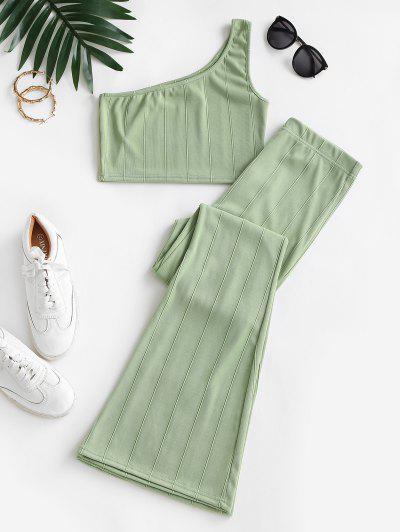Două Piese Umăr Pantaloni Decupate Bordurare Set - Verde Deschis S