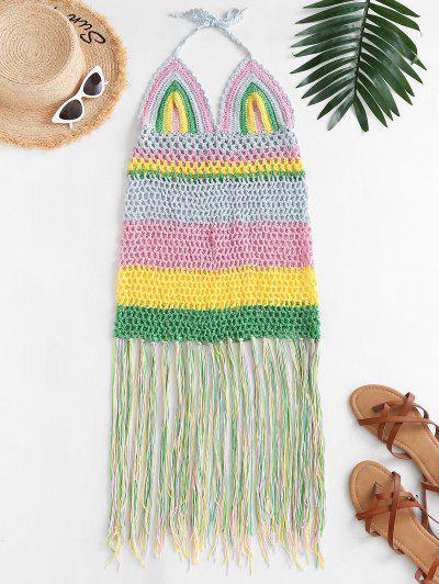 Halfter Häkeln Streifen Fransen Cover-Up Kleid - Multi